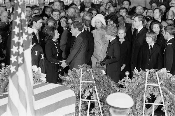 History Photograph - Lyndon Johnson Funeral. President Nixon by Everett