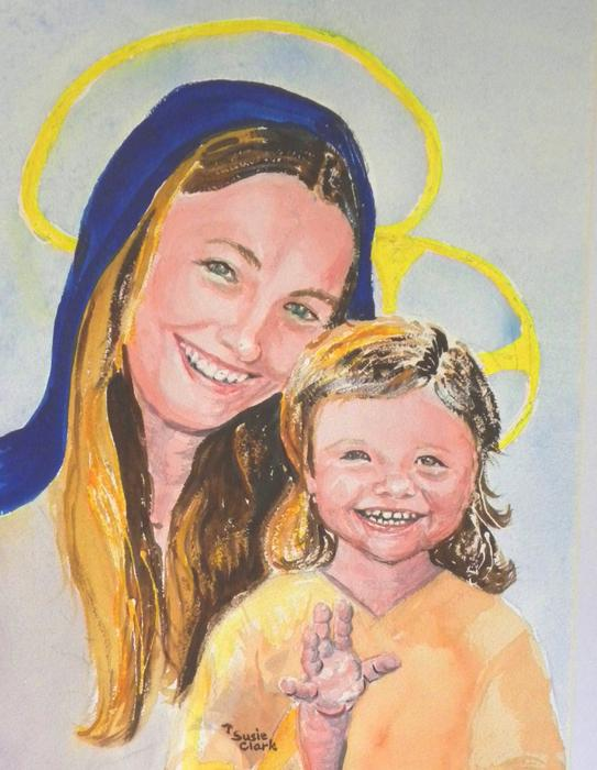 Christmas Painting - Madonna And Child by Susan  Clark