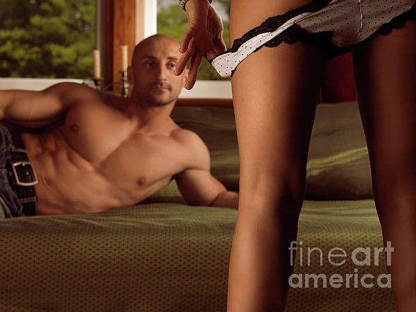 Seducing Photograph - Man Watching Woman Taking Off Her Panties by Oleksiy Maksymenko