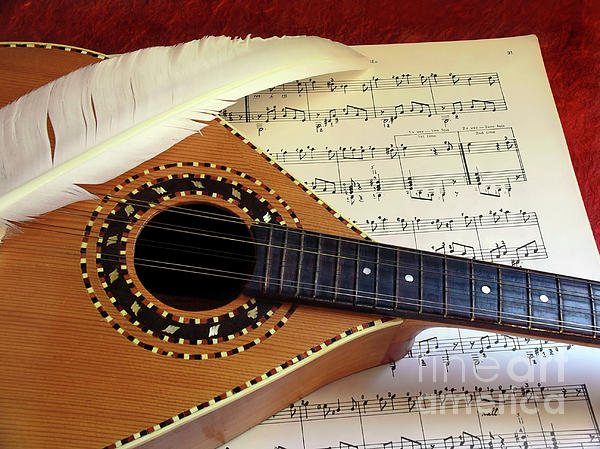 Aged Photograph - Mandolin And Partiture by Carlos Caetano