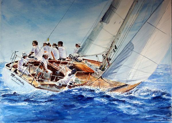 Sailing Boat Painting - Margarita by Maria Balcells