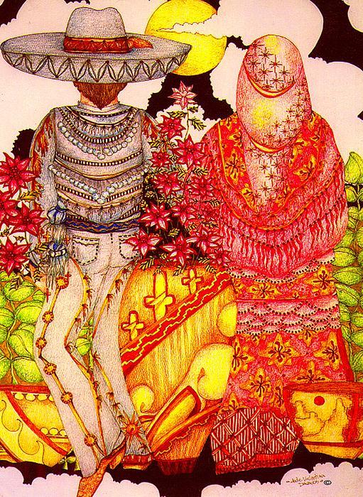 Man Woman Painting - Mariachi Wedding by Dede Shamel Davalos