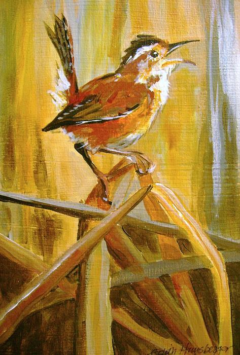 Wren Painting - Marsh Wren by Edith Hunsberger
