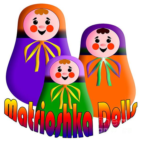 Dolls Digital Art - Matrioshka Dolls by Zaira Dzhaubaeva