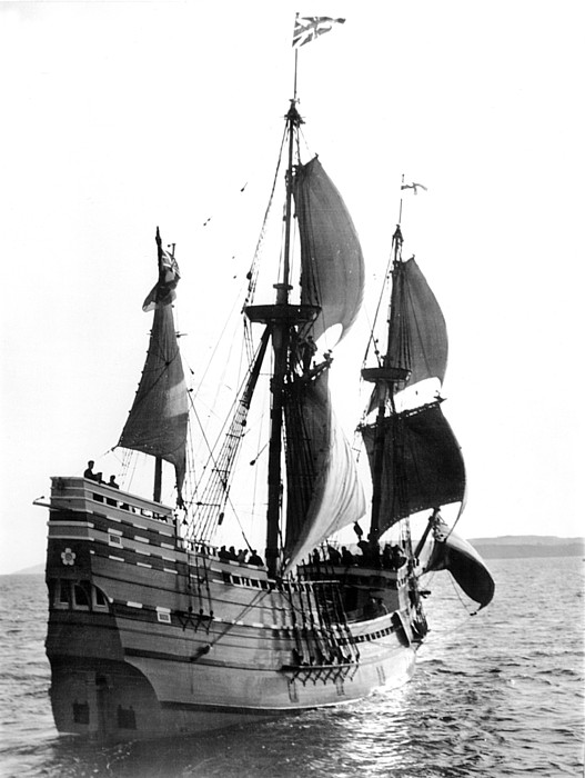 1950s Photograph - Mayflower II, Plymouth Harbor by Everett