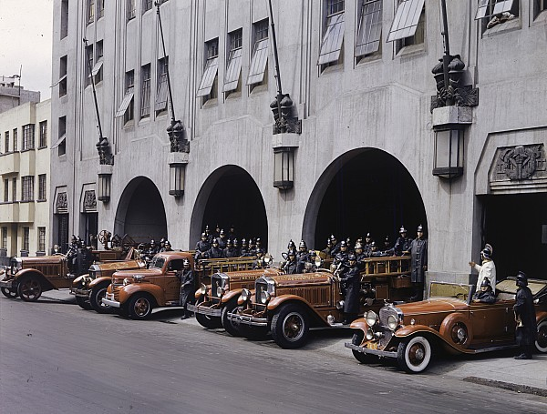 Mexico City Photograph - Men And Vehicles Of A Fire Department by Richard Hewitt Stewart