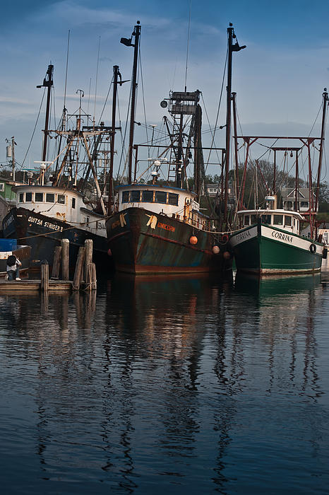 Menemsha Photograph - Menemsha Village Fishing Boats by Peggie Strachan