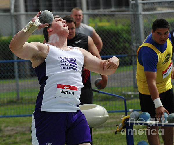 Track Photograph - Mens Shotput by Bob Christopher