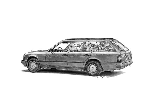Mercedes Drawing - Mercedes-benz E-class Wagon by Gabor Vida