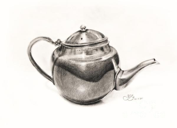 Pencil Drawings Drawing - Metallic Jug by Muna Abdurrahman