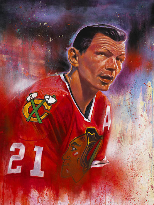 Chicago Blackhawks Painting - Mikita by Gary McLaughlin