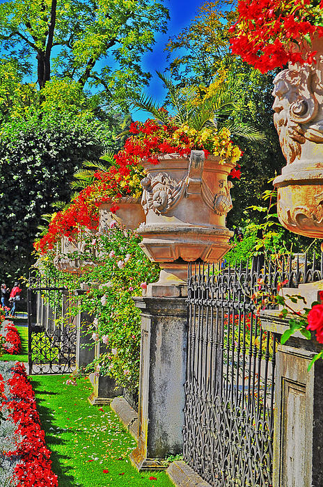 Mirabell Photograph - Mirabell Gardens In Salzburg Hdr by Mary Machare