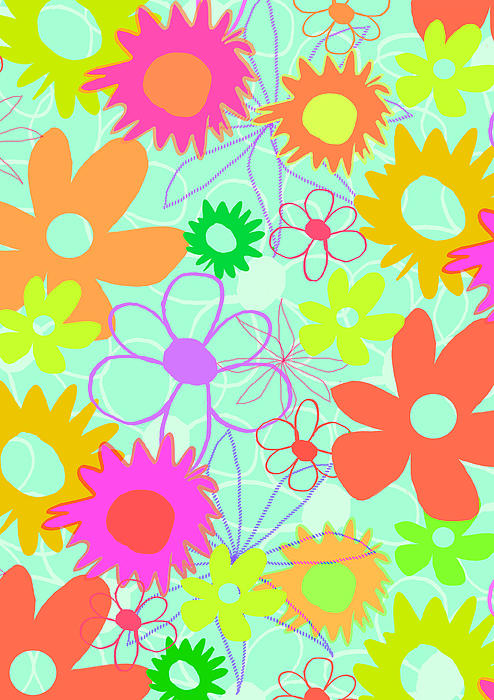 Louisa Digital Art - Mixed Flowers by Louisa Knight