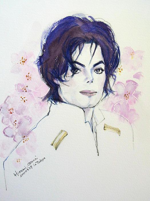Michael Jackson Painting - Mj In Sakura by Hitomi Osanai