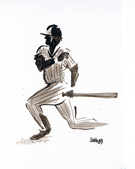 Major League Baseball Drawing - Mlb Base Hit by Seth Weaver