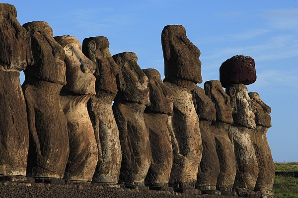 Outdoors Photograph - Moai Along The Coast Of Easter Island by Stephen Alvarez