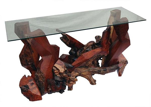 Glass Top Tables Sculpture - Modern Redwood Console Table With Glass Top Ds-19511 by Daryl Stokes