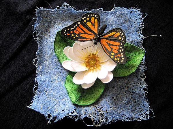 Fabric Tapestry - Textile - Monarch And The Lily by Manuala Marshal
