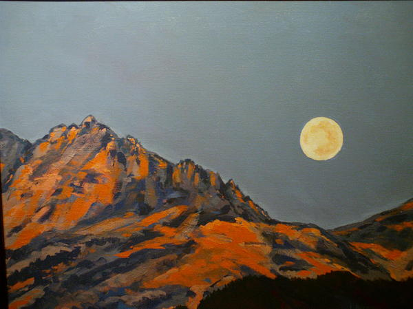 Mountains Painting - Moon Over Electric Peak by Les Herman