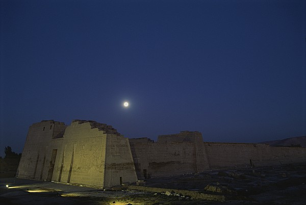 Moons Photograph - Moon Over Medinet Habu, The Temple by Kenneth Garrett