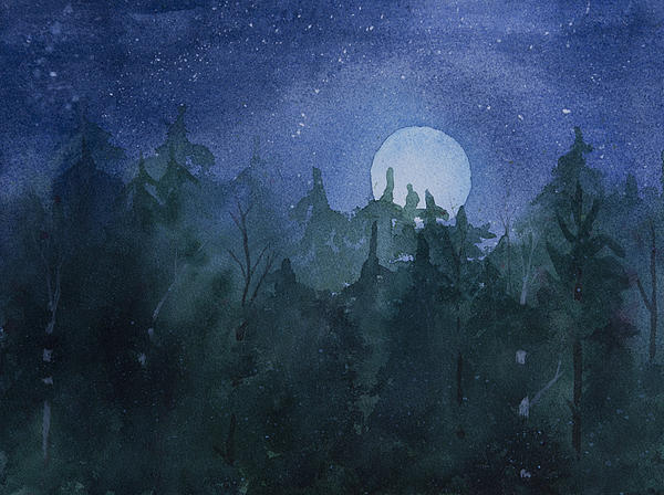 Moon Painting - Moon Setting Over Forest by Debbie Homewood