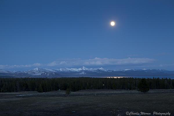 Moonrise Photograph - Moonrise At Fishing Bridge by Charles Warren