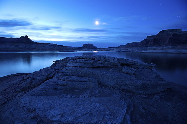 Outdoors Photograph - Moonrise Over West Canyon And Lake by Michael Melford