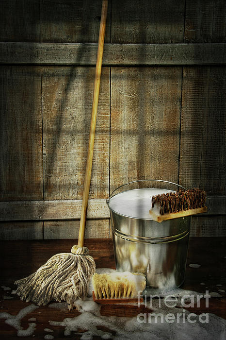 Antique Photograph - Mop With Bucket And Scrub Brushes by Sandra Cunningham