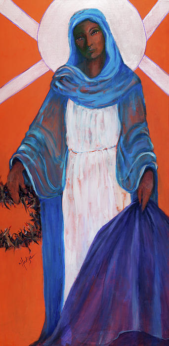 Mother Mary In Sorrow With A Tear Running Down Her Cheek Painting - Mother Mary In Sorrow by Mary DuCharme