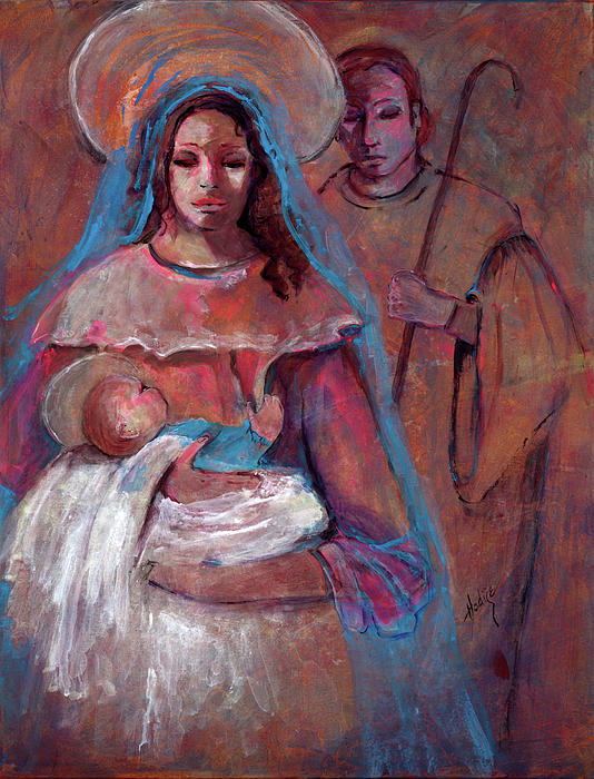 Mother Mary Painting - Mother Mary With Joseph And Jesus Baby by Mary DuCharme