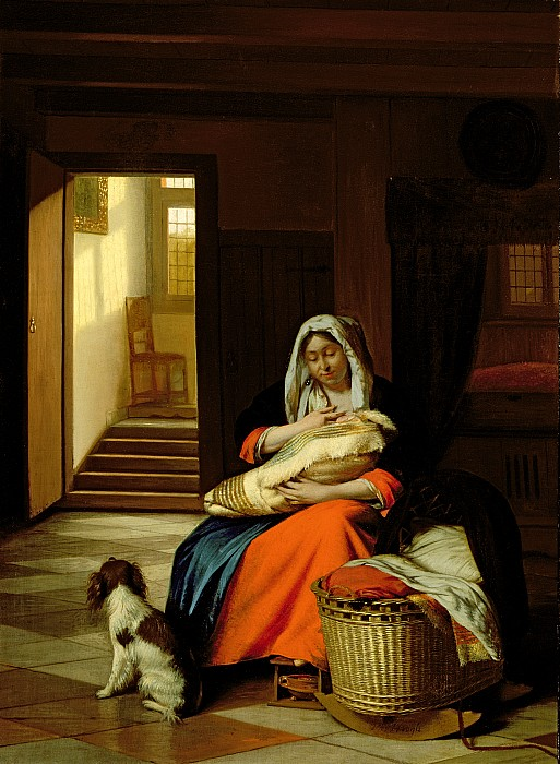 Mother Nursing Her Child Painting By Pieter De Hooch