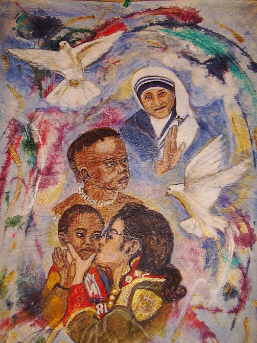 Mother Theresa Sculpture - Mother Theresa And Michael Jackson For The Lost Children by Jocelyne Beatrice Ruchonnet