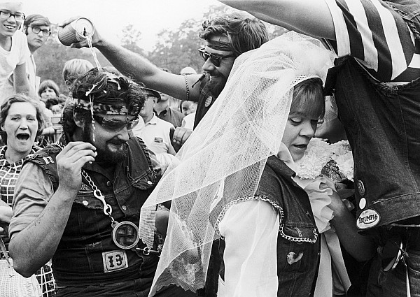 1969 Photograph - Motorcycle Club Wedding by Granger