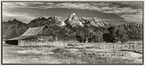Black White Photograph - Moulton Barn And The Grand Tetons by Sandra Bronstein