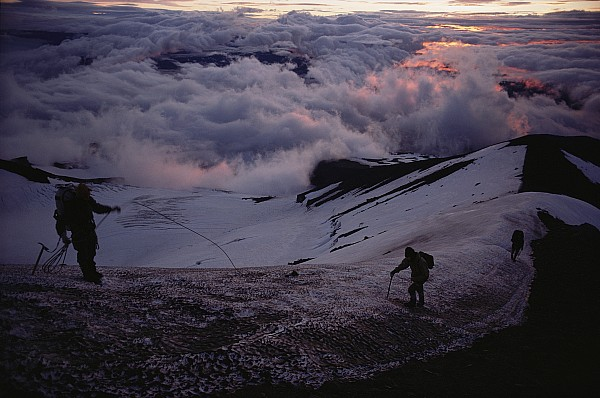 Outdoors Photograph - Mountaineers Cross A Snow Crusted Ridge by Sam Abell