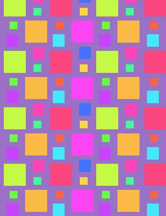 Louisa Digital Art - Multicoloured Squares by Louisa Knight