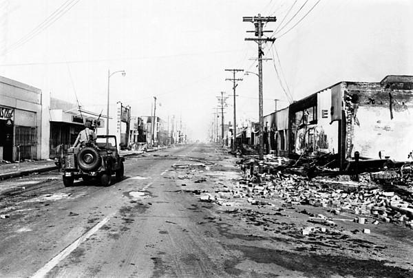 History Photograph - National Guard Jeep Patrols Watts by Everett