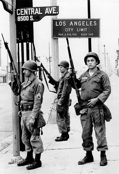 History Photograph - National Guardsmen At A Los Angeles by Everett