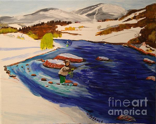 New Hampshire Skiing Painting - New Hampshire Springtime - Skiing And Trout Fishing In The White Mountains by Bill Hubbard