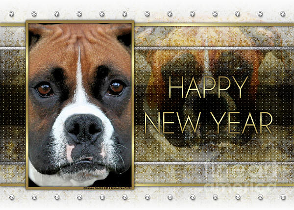 Boxer Digital Art - New Year - Golden Elegance Boxer by Renae Laughner