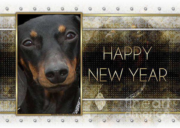 Dachshund Digital Art - New Year - Golden Elegance Dachshund by Renae Laughner