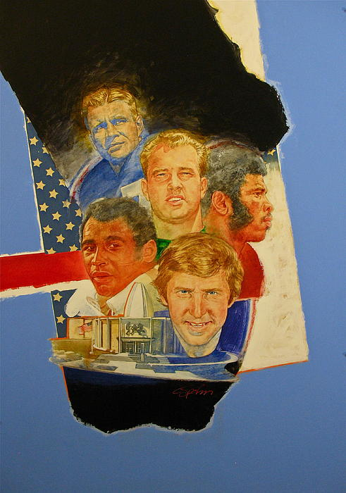 Acrylic Painting Painting - Nfl Hall Of Fame 1986 Game Day Cover by Cliff Spohn
