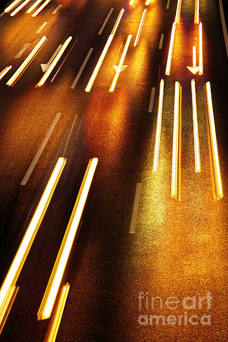 Asphalt Photograph - Night Traffic by Carlos Caetano