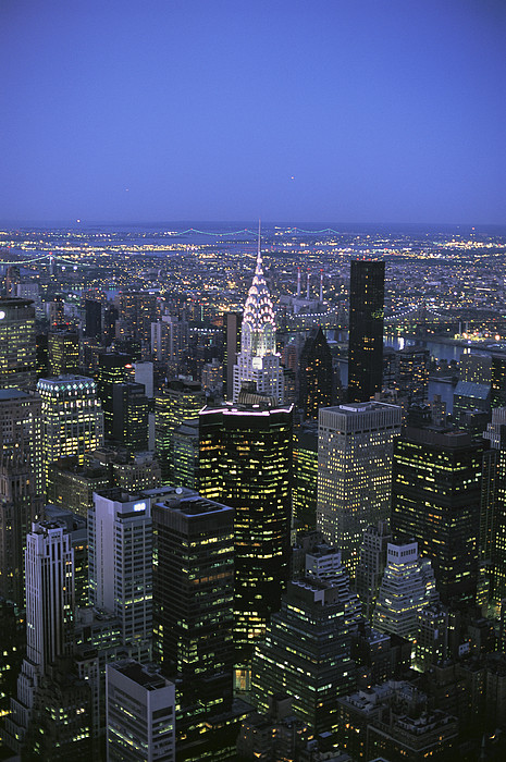 North America Photograph - Night View Of The Manhattan Skyline by Todd Gipstein