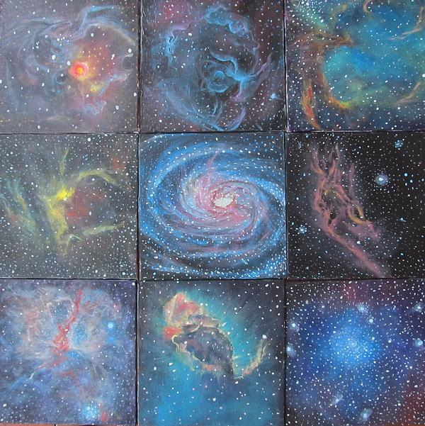 Space Painting - Nine Nebulae by Alizey Khan