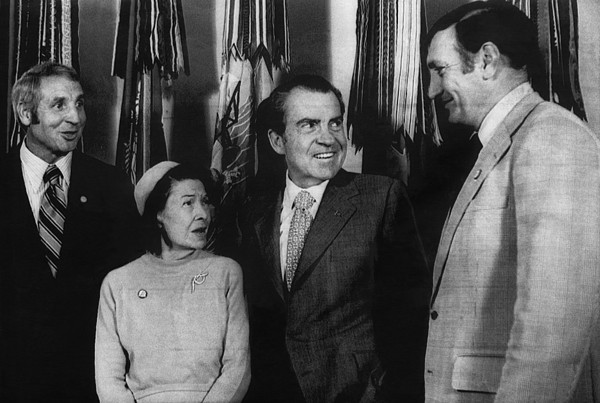 1970s Photograph - Nixon Presidency. From Left Former New by Everett