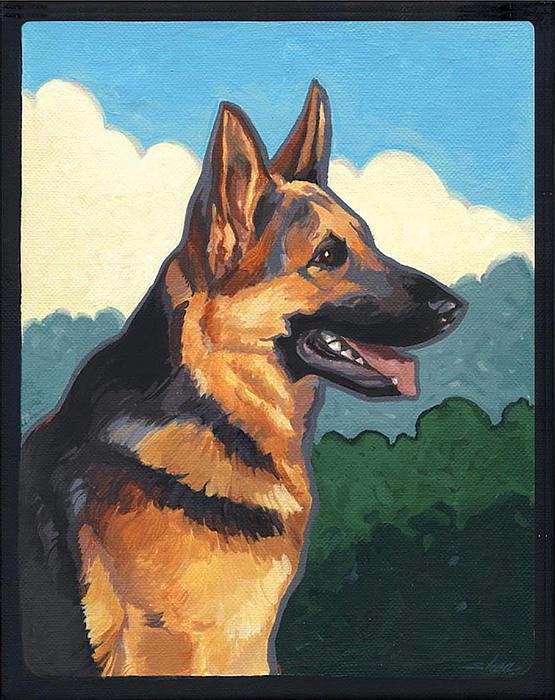 German Shepherd Painting - Noble German Shepherd Dog by Shawn Shea