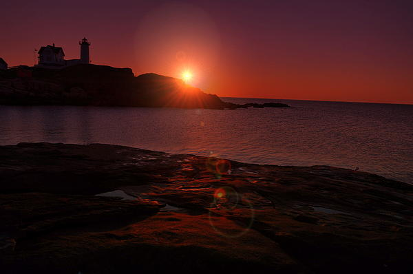 Nubble Lighthouse Photograph - Nubble Dawning by Emily Stauring