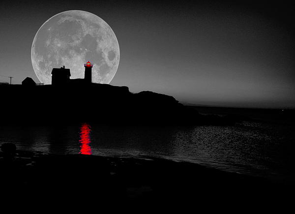 Nubble Lighthouse Photograph - Nubble Moon by Emily Stauring