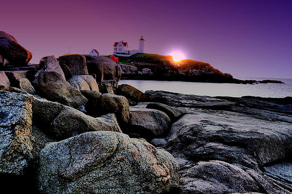 Nubble Lighthouse Photograph - Nubble Rocks by Emily Stauring